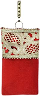 BagaHolics Ethnic Velvet Saree Clutch Mobile Cover Mobile Pouch Waist Clip Saree Hook Ladies Purse Gift For Women (Red)