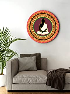 999Store small frames for wall decor room office Decorative Meditation Buddha Black And White Color Round Shape wall art p...