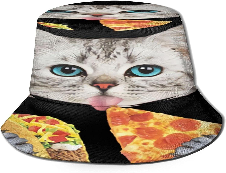 Pizza Cat Bucket Hat Unisex Sun Hat Summer Packable Fisherman Hats Black