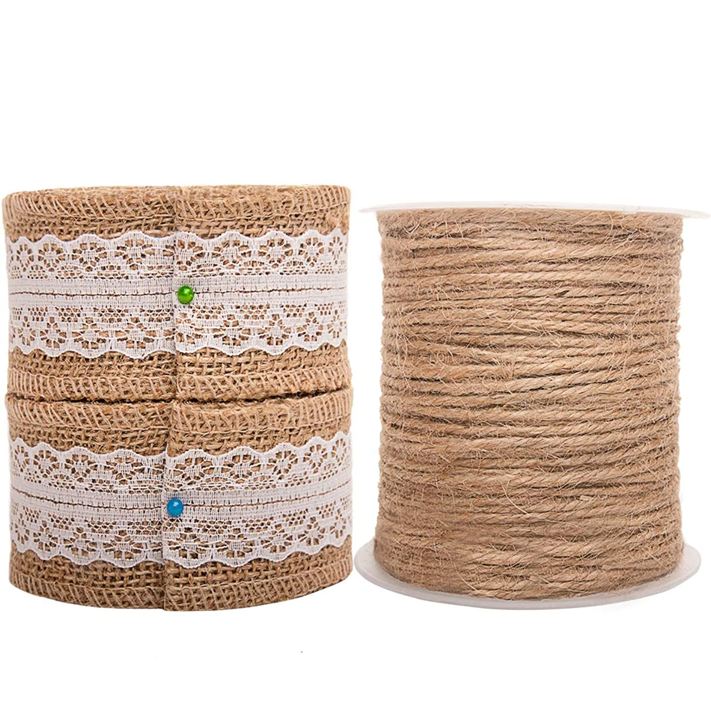 Burlap Ribbon Twine Set for Crafts Wired 2 Inch Gift Ribbon Jute String on Spool for Rustic Wedding Party Decoration