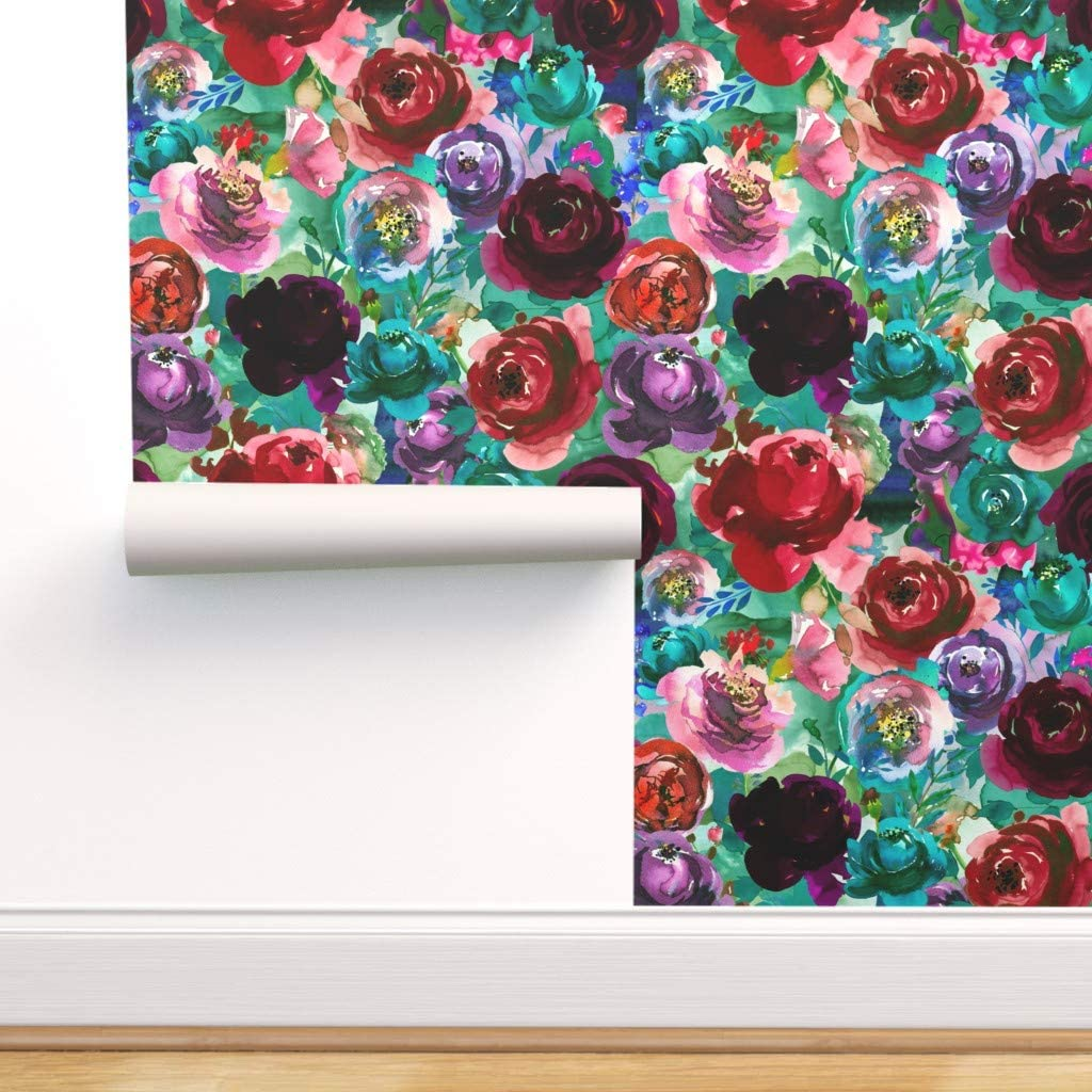 San Jose Mall Peel-and-Stick Removable Wallpaper - Sale Special Price Boho Flowers Florals Pink G