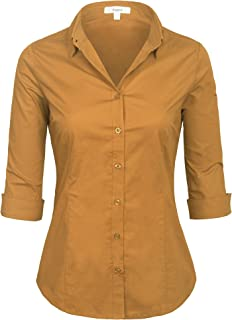 Womens Classic Solid 3/4 Sleeve Button Down Blouse Dress Shirt (S-3X)