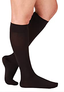Essentials Compression Socks Made in The USA - Opaque Compression Stockings for Woman - Closed Toe - Support Socks for Men - Firm Support 20-30mmHg - 1 Pair Size Large, Black