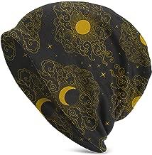 Sun and Moon in Cloudy Sky Print Unisex Cuffed Knit Hat Cap Black