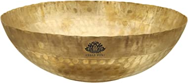 KESAR KUNJ Heavy Weight Brass Kadhai kadai Without Handle Gold (11 x 11 x 3 Inches, 2500 ML)