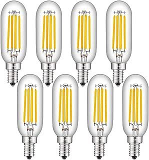 CRLight 4W LED Candelabra Bulb 3000K Soft White, 50W Equivalent 500 Lumens, E12 Base Dimmable LED Filament Light Bulbs, Antique Edison Style T25 Tiny Tubular Bulbs, Pack of 8