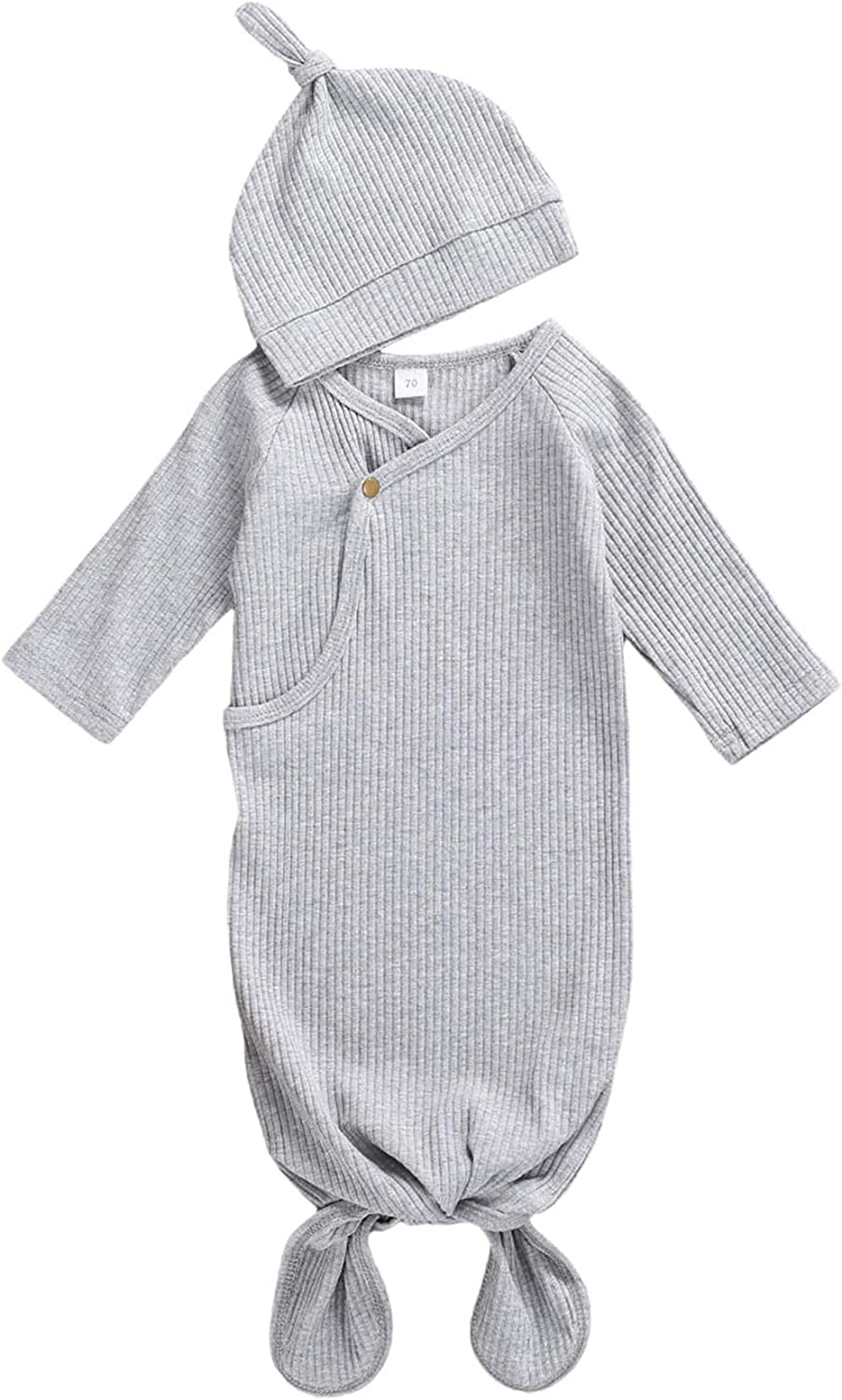 Unisex Infant Baby Gown Sleeping Bag Newborn Boy Girl Knotted Sleeper Nighgown Pajamas Coming Home Outfits (B Gray, 0-3 Months)