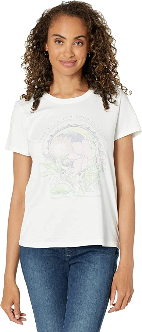 Lucky Brand Women's Short Sleeve Crew Neck Fem Sum Graphic Tee white t shirt for women