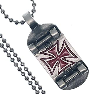 Tribal Jewelry Red German Knight of templar Cross Skateboard Skater X-Game Xtreme sport Surfer fashion Pewter Boy's Unisex Men's Pendant Necklace Charm Protection Amulet for boys men silver ball chain
