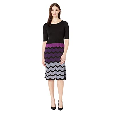 Gabby Skye Full Fashion Sweater Dress (Black/Purple) Women