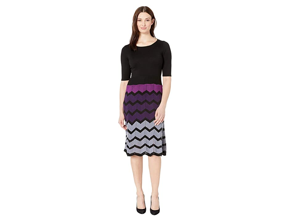 Gabby Skye Full Fashion Sweater Dress (Black/Purple) Women