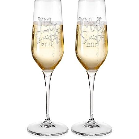 Fecha con Regalo para Enamorados Nombre Regalo Ideal para Boda AMAVEL Juego de 2 Copas de Champagne y Grabado de Beso y Bigote Set Personalizado con Grabado rom/ántico Mr /& Mrs
