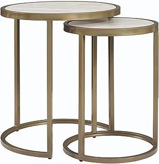Dorel Living Moriah Nesting Tables, Soft Brass, Faux Marble