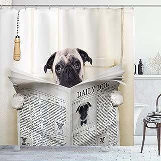 Ambesonne Pug Shower Curtain, Puppy Reading The Newspaper on The Toilet Bathroom Funny Image Pug Joke Print, Cloth Fabric Bathroom Decor Set with Hooks, 75