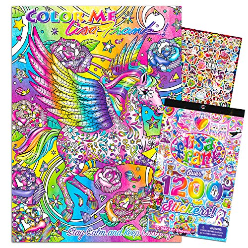 Lisa Frank Coloring Book for Adults Relaxation Set ~ Advanced Lisa Frank Adult Coloring Book with 1200 Bonus Stickers (Lisa Frank Bundle)
