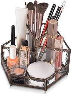 Sponsored Ad - Ikkle GlassMakeup Brush Holder Cosmetic Organizer 4 Compartments Storage for Brushes Lipstick, Stylish Des...