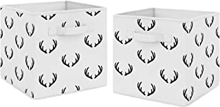 Sweet Jojo Designs Black and White Rustic Deer Organizer Storage Bins for Woodland Camo Collection - Set of 2
