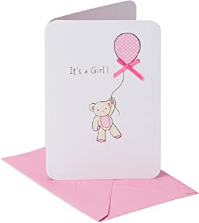 American Greetings Baby Girl Card (Bear with Balloon)