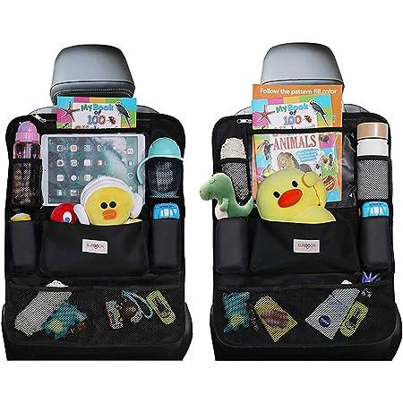 Organizadores para coche, Organizador Asiento Coche, SURDOCA 4 de la generación Organizador Coche niños, Ajuste con [10.5 & 9.7 & 7.9 iPad] Organizador Asiento. Negro, 2 piezas