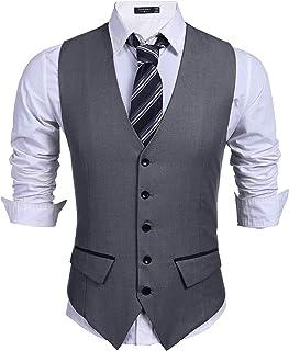 Men's Business Suit Vest Slim Fit Dress Vest Wedding Waistcoat