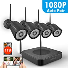 8CH 1080P Security Camera System Wireless with 1TB Hard Drive,SAFEVANT WiFi NVR Kits 4PCS 960P 1.3MP Indoor Outdoor Black IP Cameras with Night Vision