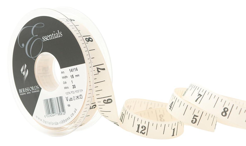 Berisfords R1411615/1   Natural Tape Measure Ribbon   20m x 15mm