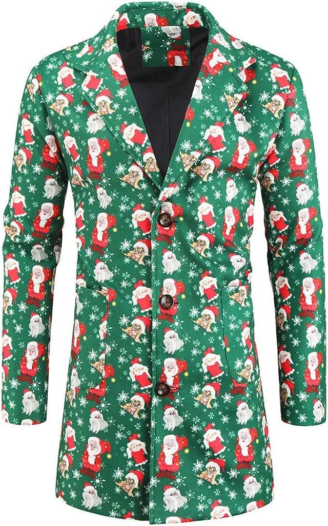 Stoota Men's Christmas Suit Jacket, Casual & Dress Xmas Style Novelty Printed Fancy Midlighrt Longline Shirt
