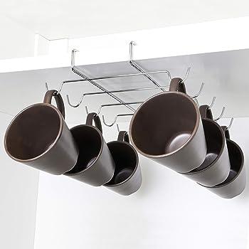 copas de vino Ganchos de almacenamiento Utensilios de cocina Portavasos debajo del gabinete 12 ganchos Colgador de tazas debajo del gabinete Estante Armario de acero inoxidable Gancho para colgar