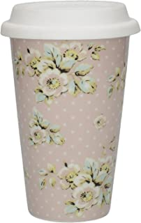 Katie Alice Cottage Flower Shabby Chic معزول للسفر القدح مع غطاء جديد