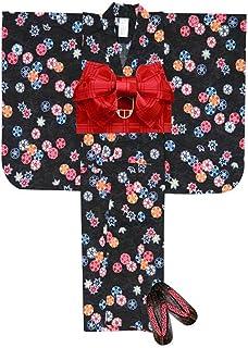 浴衣 こども 女の子 浴衣 セット 100 紅型風 子供浴衣 作り帯 下駄 3点セット「黒 古典桜」BIN-10-IK-setC