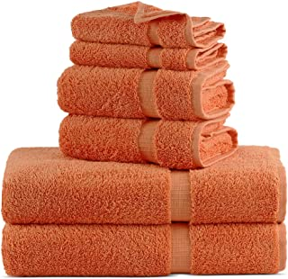Towel Bazaar Luxury Hotel and Spa Quality Dobby Border 100% Turkish Cotton Eco-Friendly and Highly Absorbent Towel Set (Set of 6, Coral)