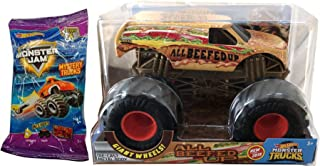 Hot Wheels Burger Crew Monster Jam Big Action All Beefed Up Fast Food Truck & Blind Bag Series Mini Monster Truck with Launcher