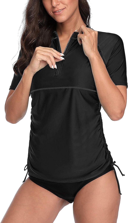 ATTRACO Women Short Sleeve Rash Guard Half-Zip Adjustable Drawstring UPF 50 Swim Shirt