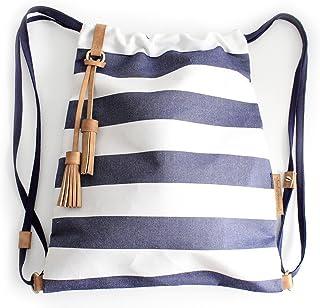 Vale BACKPACK, zaino zainetto canvas e cuoio, tela idrorepellente e cuoio italiano, righe blue e bianche. Personalizzata c...