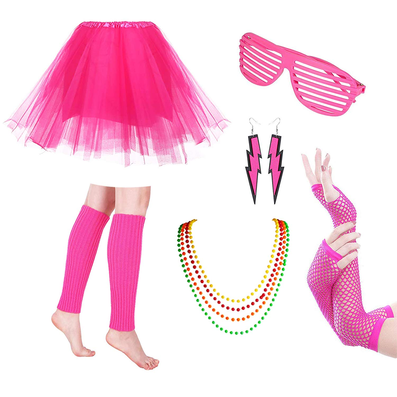 Womens Ladies 80s Party Girl Kit Neon Skirt Headband Necklace Retro Fancy Dress