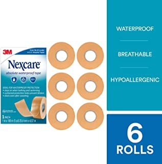 Nexcare Absolute Waterproof First Aid Tape, 1-Inch x 5-Yard Roll (Pack of 6) - coolthings.us