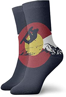 Novelty Socks Snowboarder - Colorado Flag Sport Stocking Casual Unisex Crew Socks