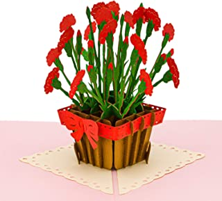 Paper Love Carnation Flower Pop Up Card, Handmade 3D Popup Greeting Cards, For Valentine's Day, Mother's Day, Wedding, Anniversary, Birthday, Love, Thank You, Get Well, All Occasions