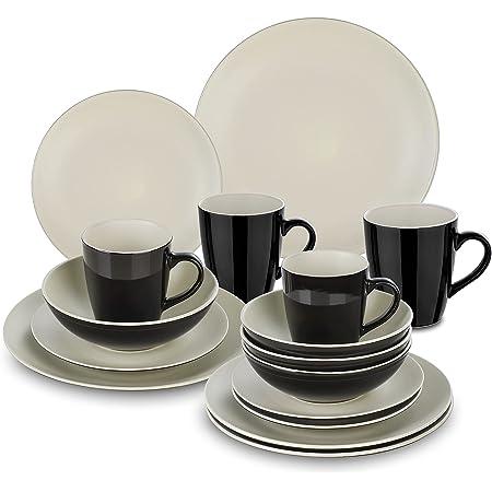 vancasso, Série LENTO, Service de Table Complet en Céramique Matte, 16 Pièces pour 4 Personnes, Assiette Plate, Assiette à Dessert, Bols, Tasse Mug, Style Moderne