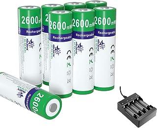 melasta 8-pack NiZn AA uppladdningsbara batterier 2 600 mWh 1,6 V AA NiZn batteri med laddare för solcellslampor digitalka...