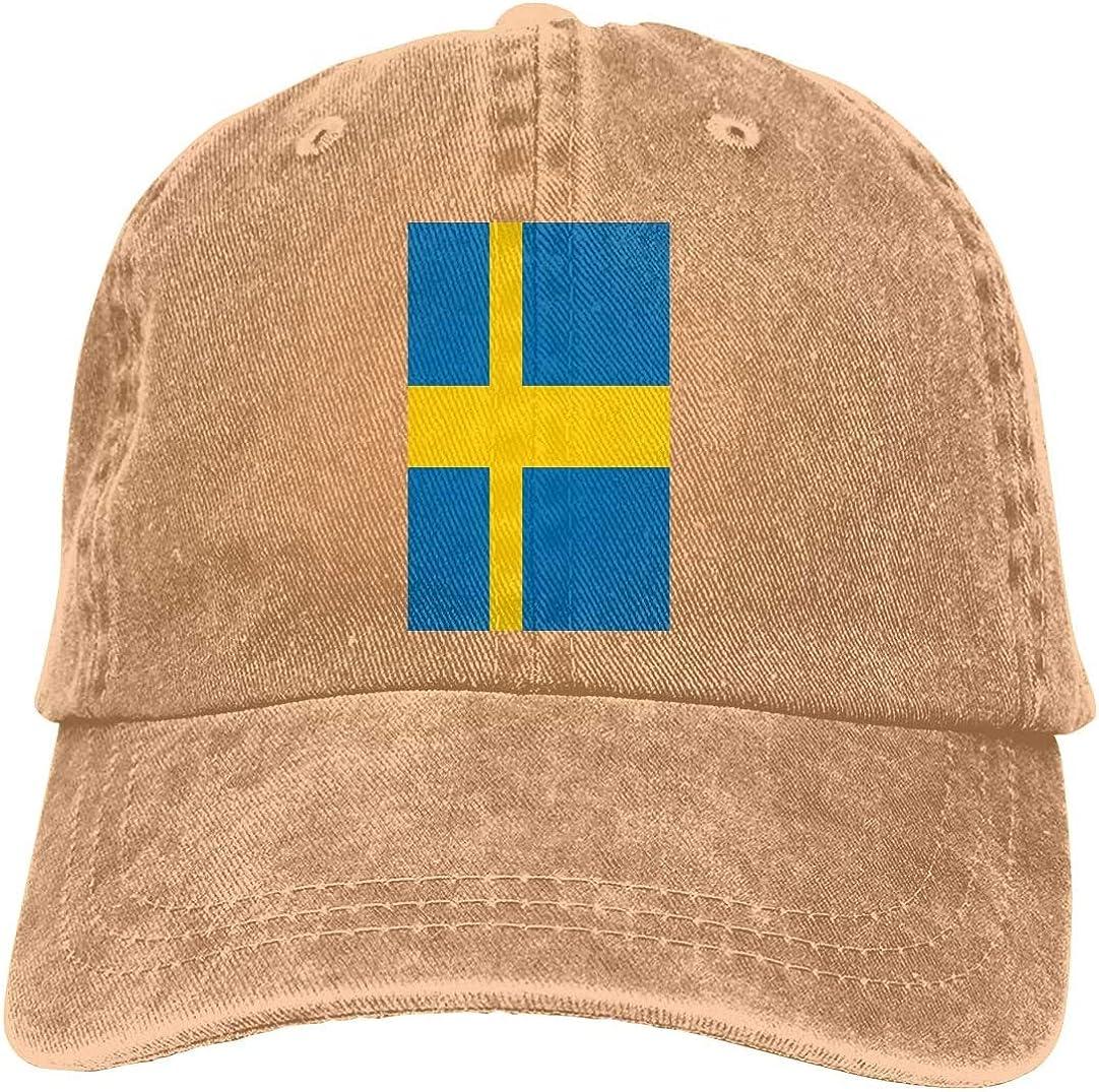 KEQU Swedish Flag Retro Adjustable Cowboy Denim Hat Unisex Hip Hop Black Baseball Caps Adjustable