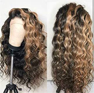 Natural Wave Ombre Synthetic lace front wigs Unit Blonde Glueless Natural Looking Black Roots 1B/27 Two Tone Color Hair with Baby Hair for Women 22Inch