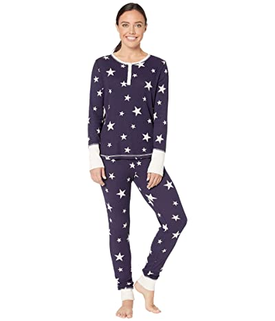 Splendid Cozy Thermal PJ Set (Evening Blue Stars) Women