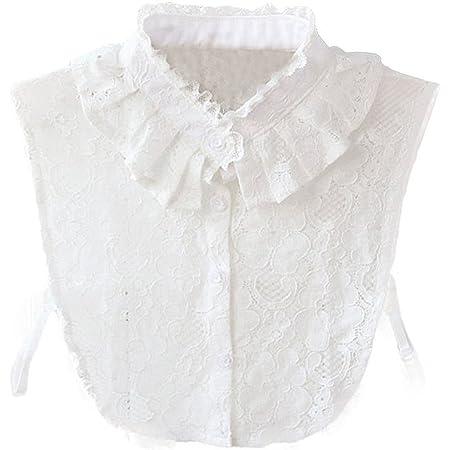 WKTRSM Colletto Camicia Staccabile Bianco Finto Collare Staccabile Donna Elegante Bianca Falso Mezzo Camicia Colletto (Bianco)