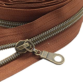 MebuZip #5 Antique Brass Metallic Nylon Coil Zippers by The Yard Bulk Coil Zipper Roll 10 Yards with 20pcs Pulls for DIY S...