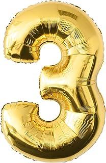 comprar comparacion Globo de lámina 3 dorado Número enorme 100 cm rellenable con helio o aero fiesta de cumpleaños
