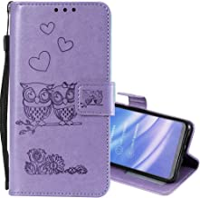 EnjoyCase Wallet Case for Galaxy S6,Cut Funny Embossed Flower Owl Premium PU Leather Wrist Strap Magnetic Closure Bookstyle Protective Flip Cover for Samsung Galaxy S6