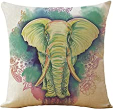Doliving Throw Pillow Cover 18x18 Green Elephant Theme Decoration Pillow Case Farmhouse Cushion Cover for Sofa Couch Bedroom
