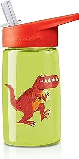 Crocodile Creek Kids Eco Dinosaur T-Rex Flip Straw Tritan Drinking Bottle, Green, 7