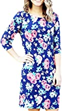 Mary Square Navy Floral Shift Dress